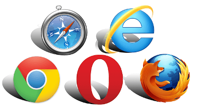 5 different major web browsers