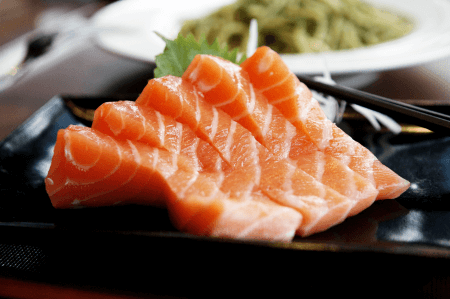 plate of salmon sashimi