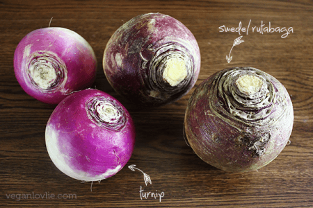 Turnip and rutabaga side to side
