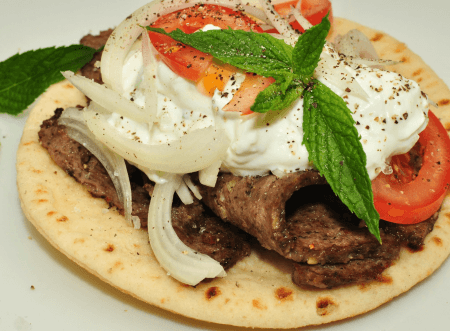 Gyro served on pita