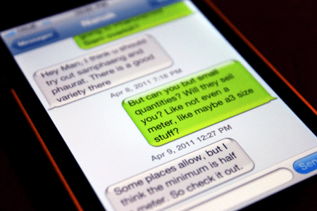 SMS messages on a green background