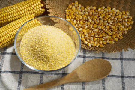 bowl of finely ground cornmeal