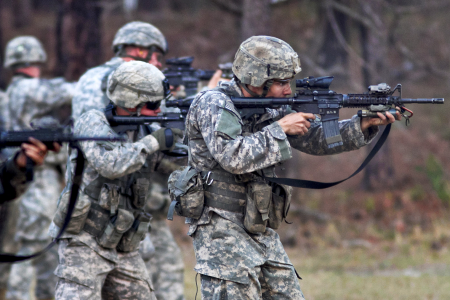 Army soldiers during marksmanship training