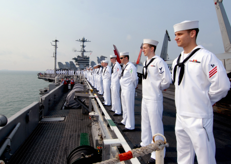 Sailors aboard a US aircraft carrier