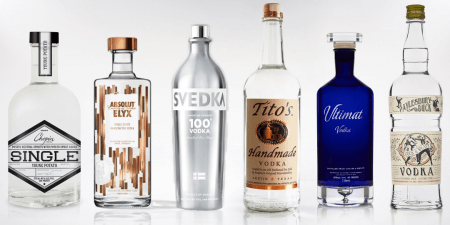 Different brands of vodka